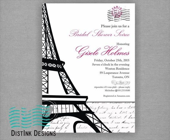 paris bridal shower theme invitation