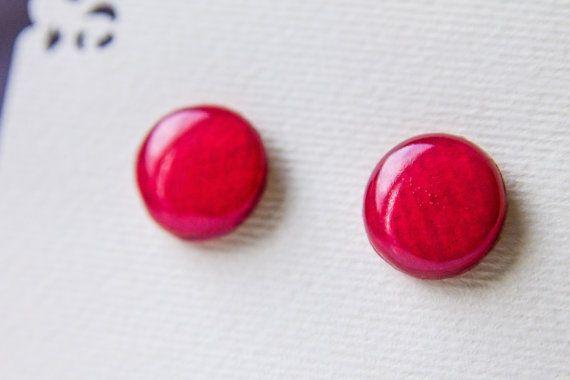 Red rose studs  red stud earrings earrings post red от JewelryBest