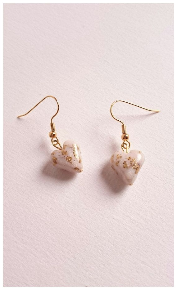 Polymer clay white heart earrings with gold flakes by Little Clay Place.