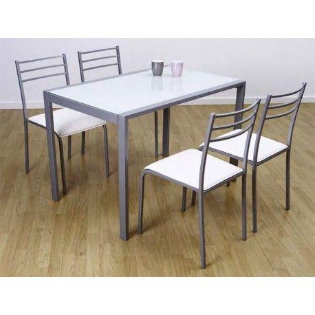 Funcional Conjunto de Cocina compuesto por una mesa de estructura metálica en color gris mate y cristal templado de 4mm. Las sillas están tapizadas en polipiel. Este set de Mesa y Sillas es perfecta para darle un toque diferente a tu cocina.