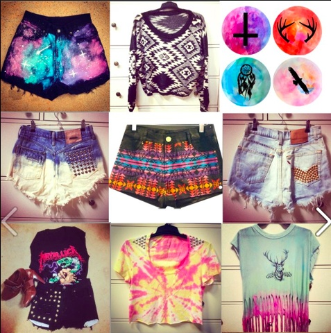 indie / tie dye   shorts   t shirt