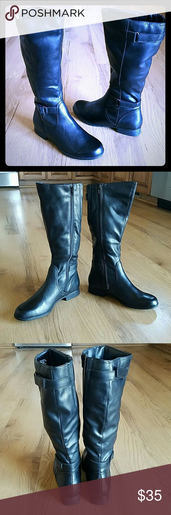 NWOT Hush Puppies Black Boots Hush Puppies Black zip up boots size 8. They go up to mid calf.  New without tags! Great for fall or winter season! Hush Puppies Shoes Heeled Boots