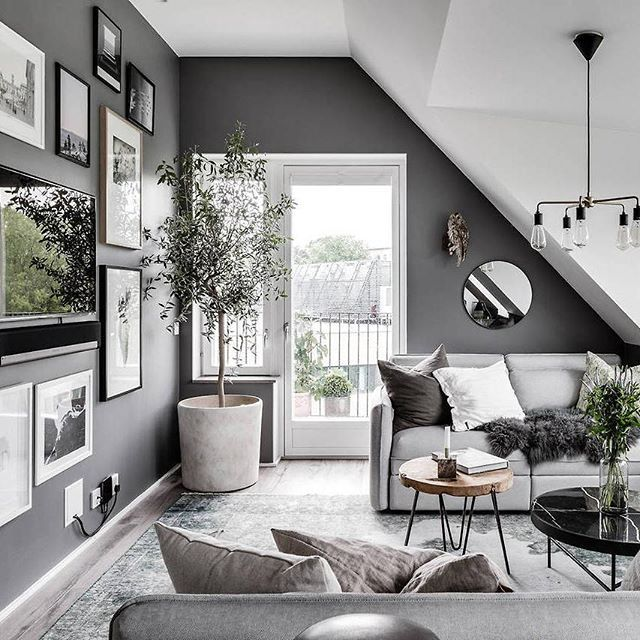 Grey & white attic living room | photo via @revenymakleri