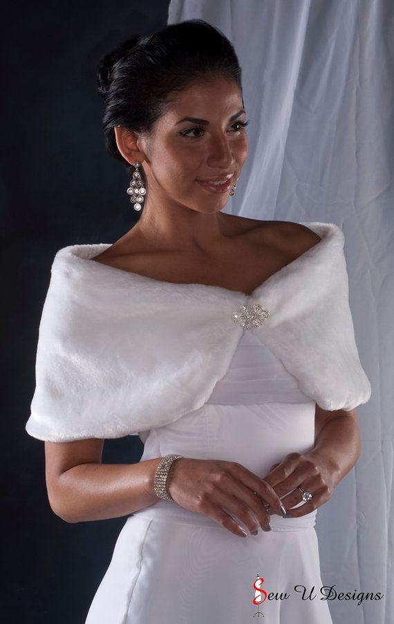 10 ancho imitación piel Custom abrigo chal de la novia