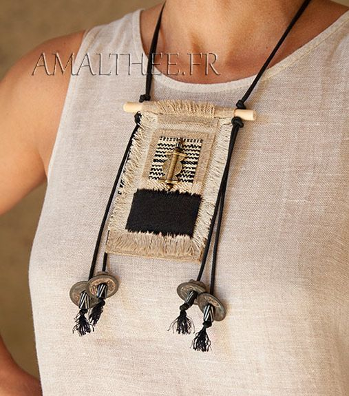 Handcraft ethnic textile necklace with linen and hemp by Amalthee Creations