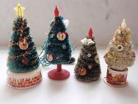 4 VINTAGE BOTTLE BRUSH CHENILLE BATTERY OPERATED BLINKING CHRISTMAS TREE JAPAN