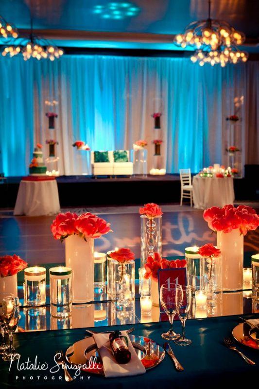 Teal Wedding Head Table Decorating
