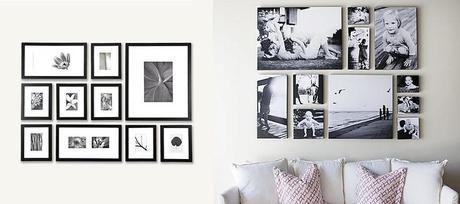 Decoración de paredes con fotografías y cuadros