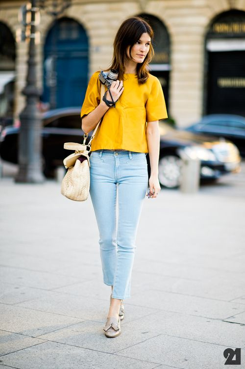 hanneli mustaparta. mustard top. light blue jeans. Cape Cod Collegiate