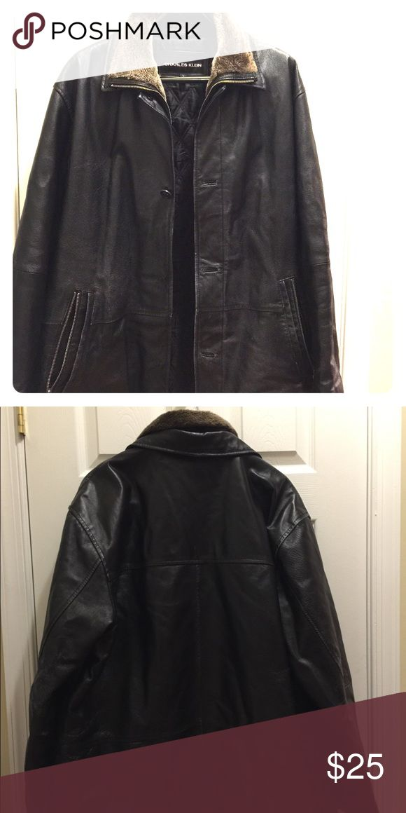 Charles Klein Black Leather Jacket size L Pre-owned leather jacket with soft collar, still in good condition but zipper is broken and some buttons missing - could be repaired! Don't let that stop you from scooping up this great jacket! Comes from a smoke free household. Jackets & Coats Bomber & Varsity