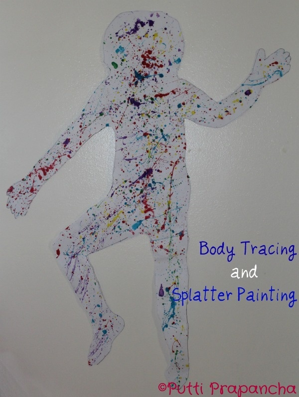 Body Tracing and Splatter Painting for Holi ~ Putti's World-kids-activities