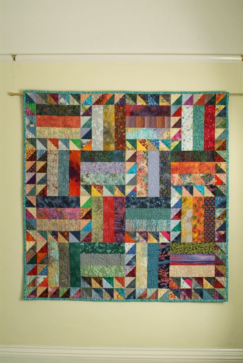 Zig Zag Rail Fence, with Flying Geese. Project from Scrap Quilts for Babies and Toddlers by Katharine Guerrier