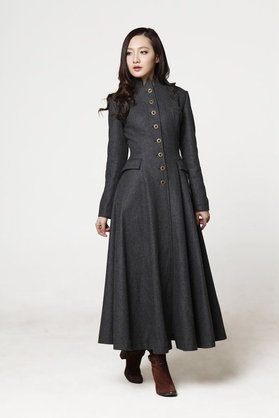 Dark Grey Coat Big Sweep Lapel Collar Mandarin Collar Women Wool Winter Coat Long Jacket Tunic / Fast Shipping - NC612