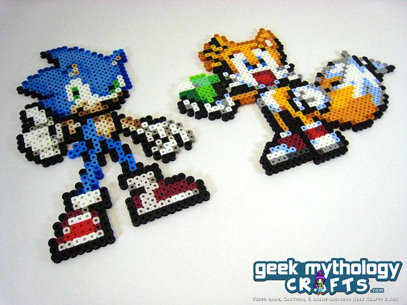 Sonic the Hedgehog and Tails the Fox Perler by GeekMythologyCrafts, $14.00