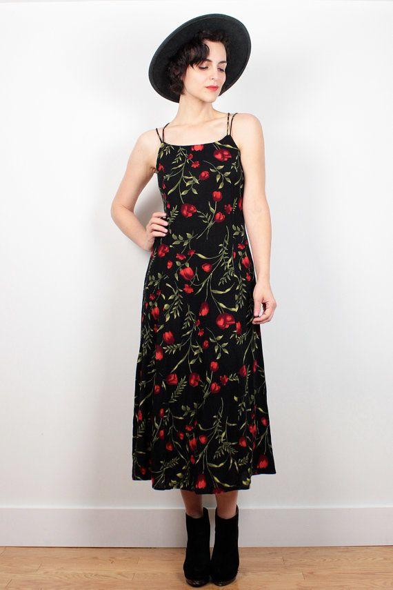 Vintage 90s Dress Black Red Rose Floral Print Midi Dress BACKLESS Dress 1990s Dress Maxi Dress Soft Grunge Dress Sundress S Small M Medium #vintage #etsy #1990s #90s #backless #midi #floral #soft #grunge #sundress #dress