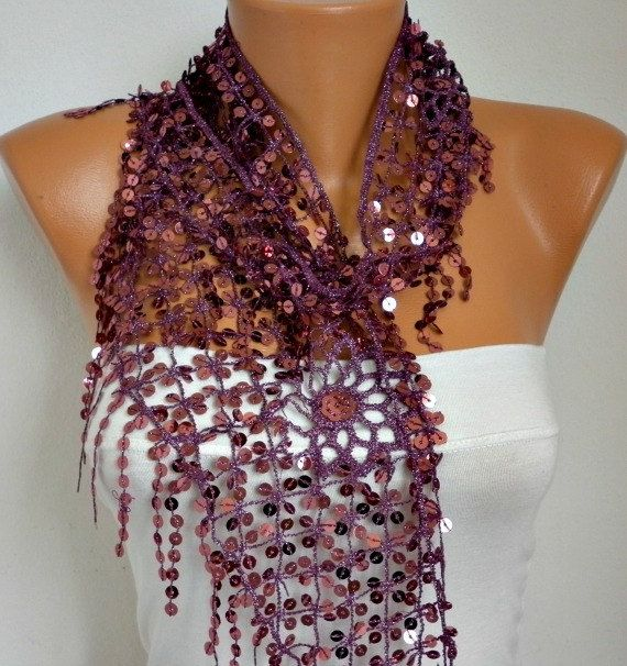 This is the purple one I plan to buy. It's like the black but solid purple (or lavender?).   ON SALE  Sequin Scarf Floral  Women Shawl Scarf  by fatwoman, $18.00