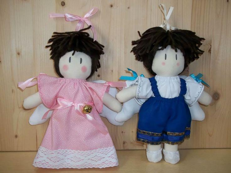 Coppia Angeli di stoffa, fatti a mano. Idea per decorazioni camerette bambini o idea Bomboniere : Decorazioni per camerette bambini di softsculpturedolls