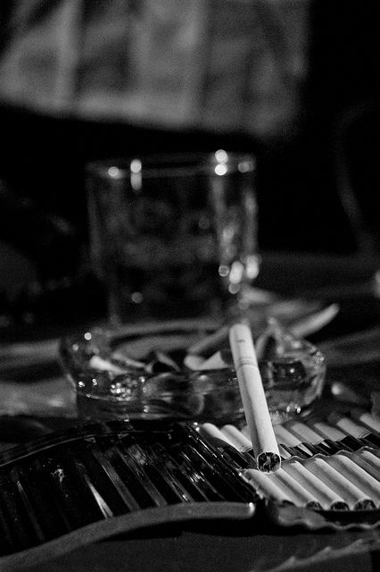 quick to light up a smoke or fling a drink, that's when passion really shows her face... Film noir movie set  #noir #noirnation::cM