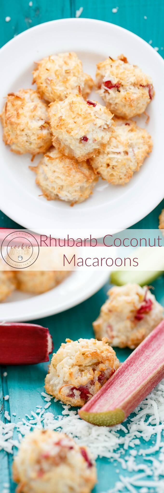 Rhubarb Coconut Macaroons | http://thecookiewriter.com | @thecookiewriter | Easy 3 ingredient recipe that is gluten free and low carb, the chewy texture of these healthy cookies get a bite from fresh rhubarb!
