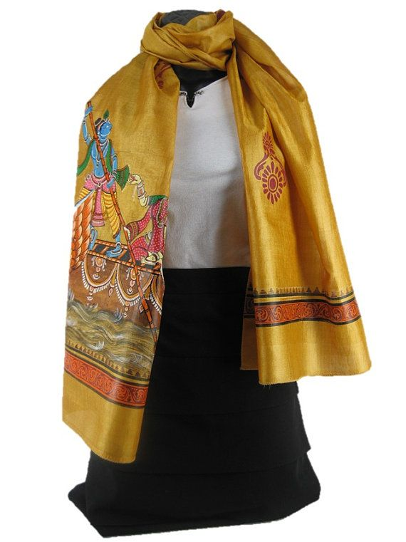 **** Golden Touch ****    The mustard hue forms the perfect backdrop against which the artist from East India has painstakingly crafted the scene. The scene of a merchant boat departing its shores for a sixth month long expedition; an expedition for riches, for fame, fortune, and that heady dose of adventure.    Women's Traditional Hand Painted Scarf by ArachneStyle on Etsy, $90.00