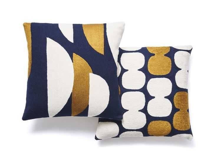 Slice And Tabla Pillows In Navy Gold Cream Fabrics Gold Throw