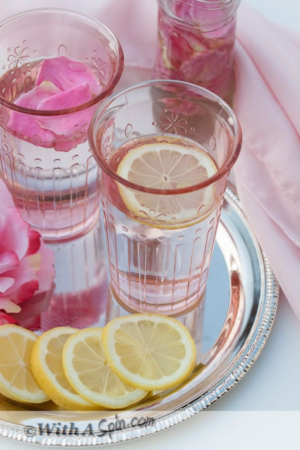 Rose lemonade  (Try a spoon or two of datesyrup for sweetening)