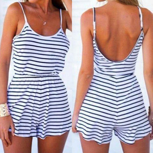 Striped Backless Women's Romper