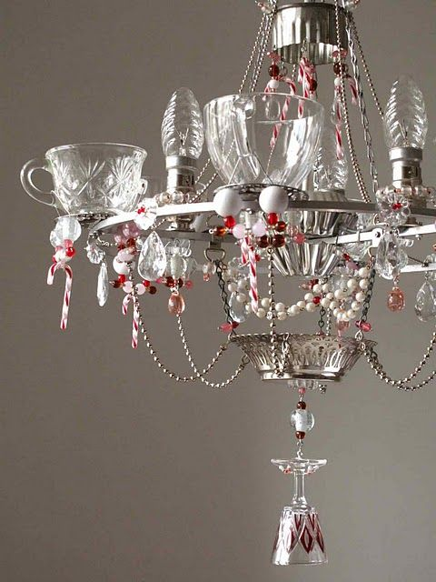 Dress Up The Chandelier With Punch Bowl Cups And Wine Glasses Add Some Candy Canes