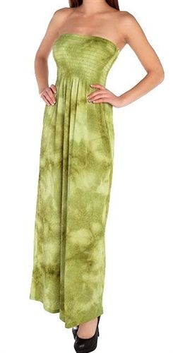 Pretty green tie dye soft lightweight gauze maxi dress. Smocked strapless festival party dress is long & comfortable. Poly/rayon/spandex fabric for the perfect fit. Wear as beach dress or add a denim jacket to carry into fall. Free ship in the U.S.A.