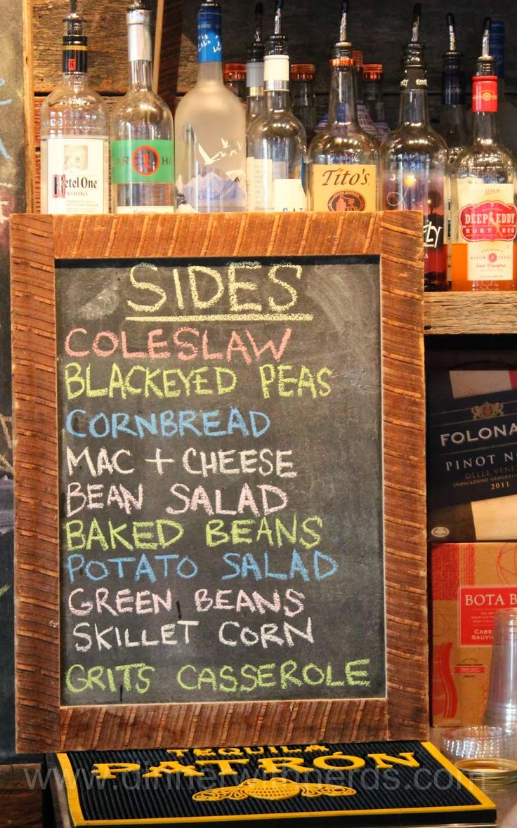 Our famous sides on the signature chalkboards. Click to see a throwback to our fish fry in 2013!