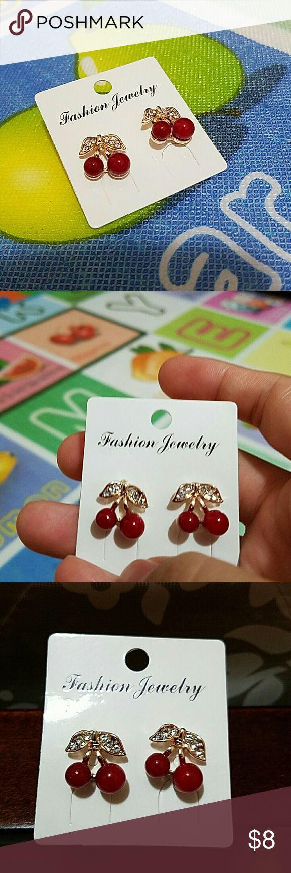 Cherry earrings Women Red Cherry Clear Rhinestone Ear Studs Beads Golden Alloy Leaves Earrings (Size: One Size) Jewelry Earrings