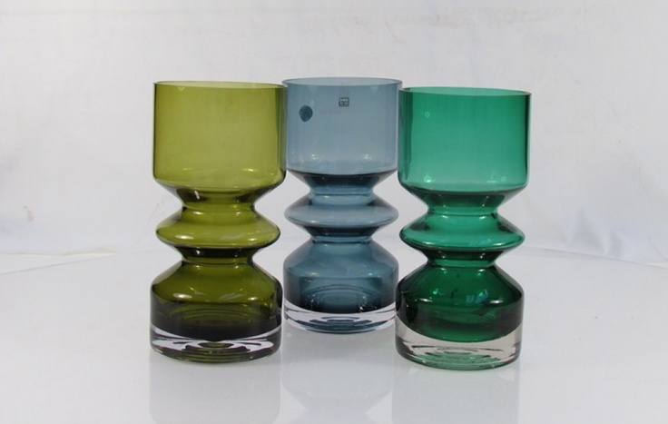 Three Riihimaen Lasi cased vases in greens and blue 20cm high by Tamara Aladin