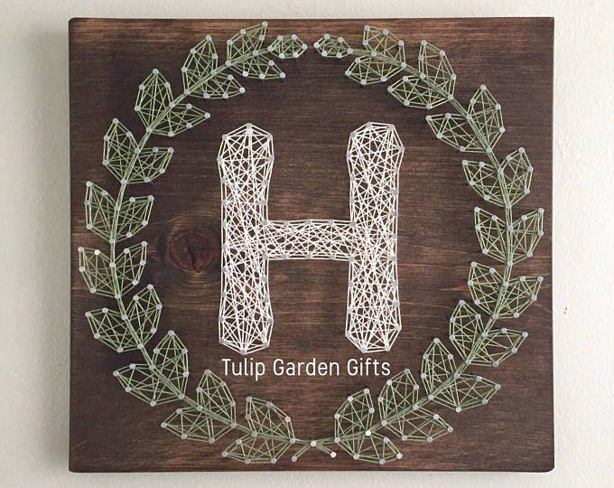Laurel Wreath Monogram String Art, String Art Letter, String Art Monogram Sign, Wreath String Art, Laurel Wreath Sign, Letter String Art