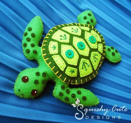 <3 Sooo cute!! Sea Turtle Sewing Pattern PDF - Stuffed Animal Felt Plushie - Sammy the Sea Turtle