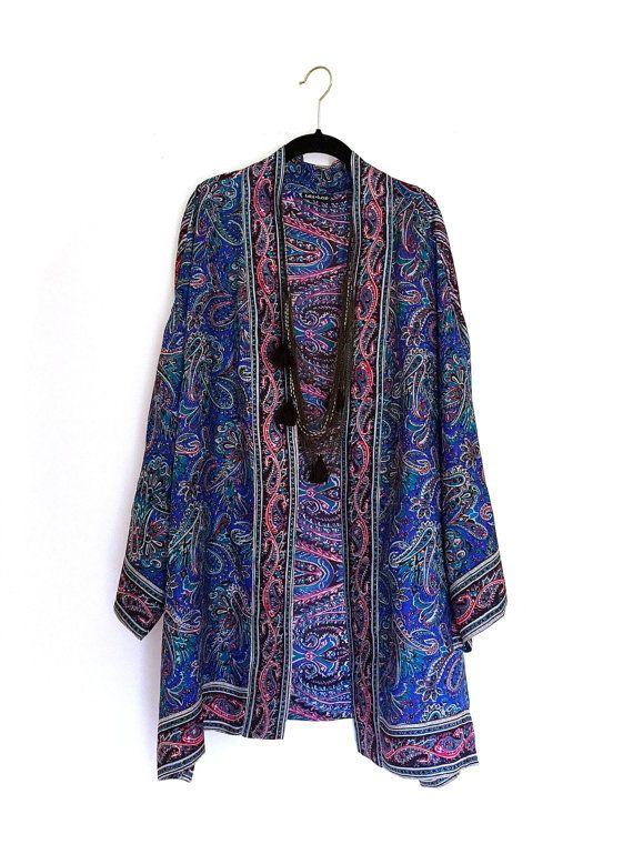 Veste+Kimono+surdimensionné+de+soie+/+cocoon+couvrez-vous+bleu