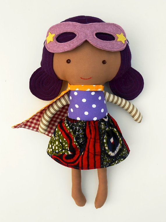 African American Black Superhero Girl Doll Fabric Brown