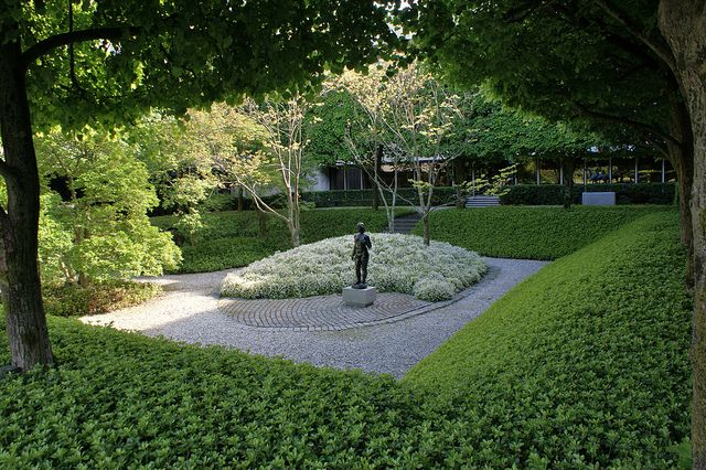 Sunken garden with pachysandra on walls