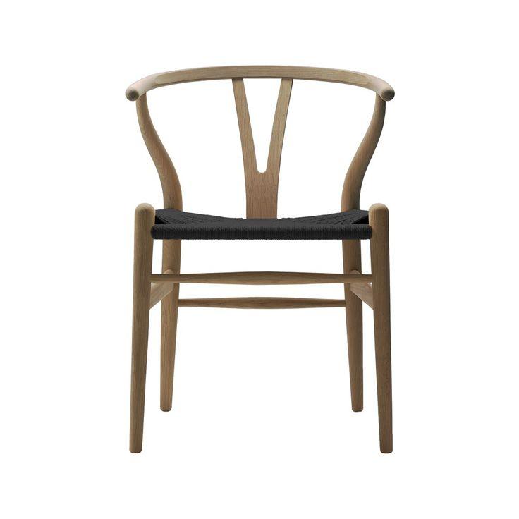 CH24 stol - tvålbehandlad ek med svart sits