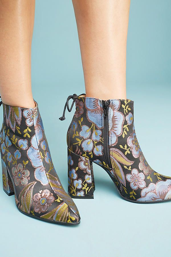 Slide View: 2: Anthropologie Printed Flare-Heeled Boots