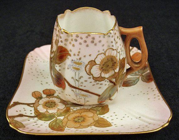 Unique Antique Doulton Burslem Demitasse Cup & Saucer