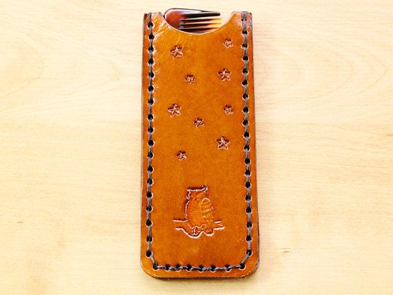 Owl Comb Case, Leather Case, Handmade Owl Lover Gift. Repin To Remember.