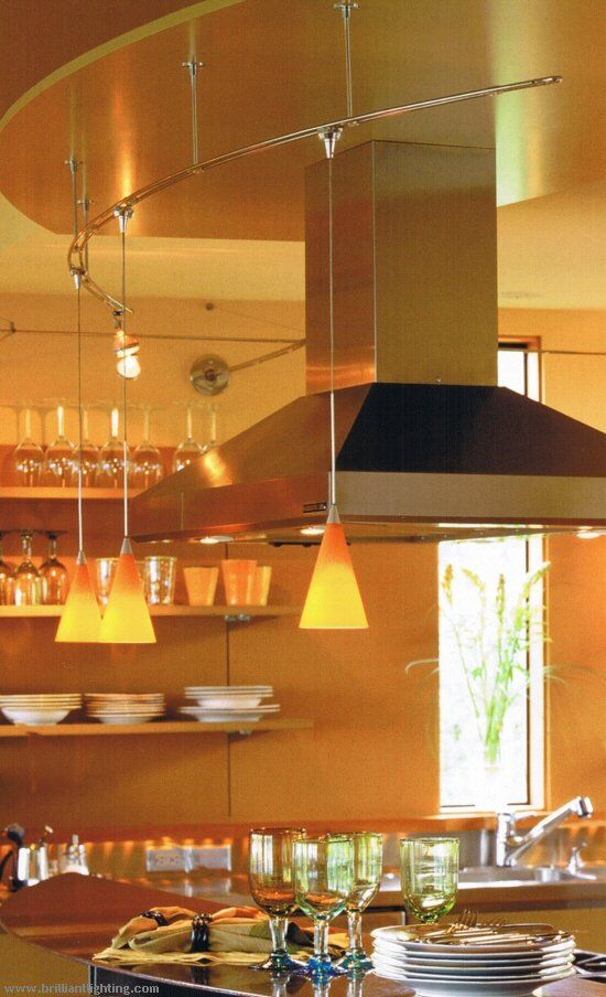 Helix track ceiling light setup with pendant lamp combination for modern orange scheme kitchen lighting system
