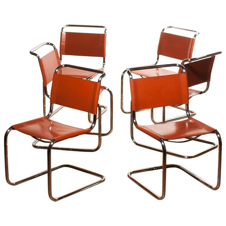 1970s, Set of Six Tubular Dining Chairs by Mart Stam for