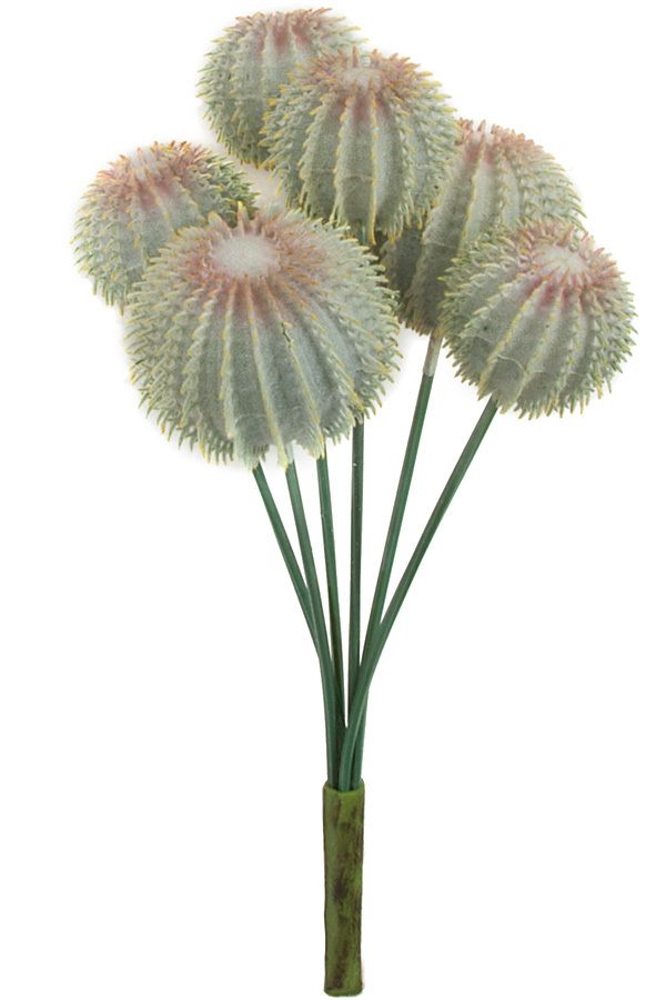 "** ARTIFICIAL CACTUS **  7"" Plastic Barrel Cactus Stem  6 Heads Green/White  ITEM#A161580 email for price/minimum: sales @ displayit-info.com"
