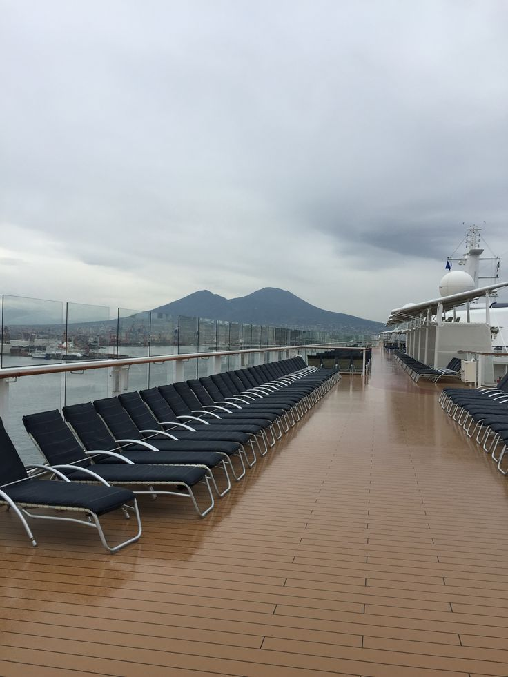 Mount Vesuvius. Celebrity Reflection docked in the Gulf of Naples