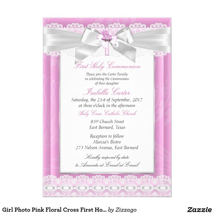 Girl Photo Pink Floral Cross First Holy Communion 5x7 Paper Invitation Card