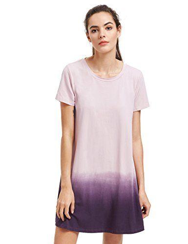 32344d196b ROMWE Women s Tunic Swing T-Shirt Dress Short Sleeve Tie Dye Ombre Dress at Amazon  Women s Clothing store