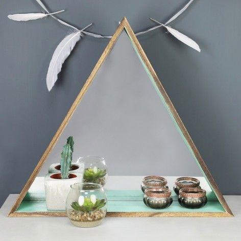 Wooden Triangle Mirror Shelf in Mint Green