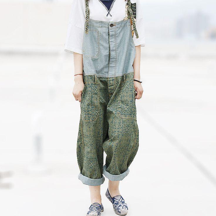 Vintage Patchwork Palazzo Capri Pantalon Taille Haute Femme Broek Vrouwen Denim Loose Boyfriend Jeans Pants for on http://ali.pub/v6x42