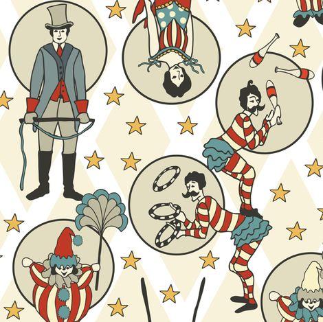 Vintage Circus Performers - White by fernlesliestudio